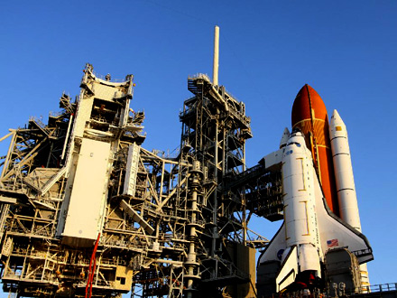 Shuttle on launchpad