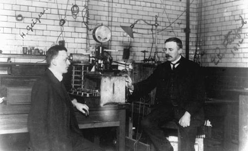 Rutherford and Geiger in the laboratory