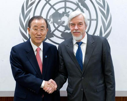 CERN DG Rolf Heuer and UN Secretary-General Ban Ki-Moon